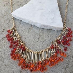 """♡ 12"""" flirty gold red/orange fringe necklace"""